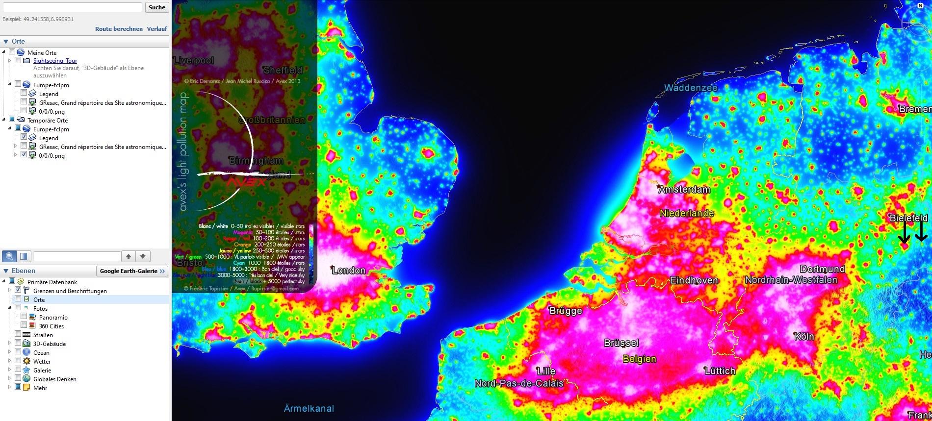 Lichtverschmutzung Karte 2019.Lichtverschmutzung Mit Google Earth Wetter Observer De
