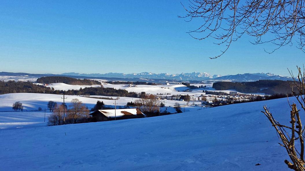 Blick von Wiggensbach in die Allgäuer Alpen
