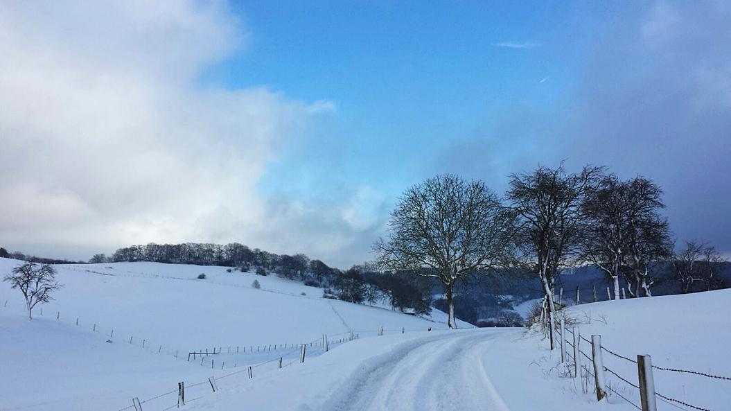 """Um 25 cm Schnee gab es in Neuenheerse - hier der """"Neuenheerser Höhenweg"""", 13. Januar 2017"""