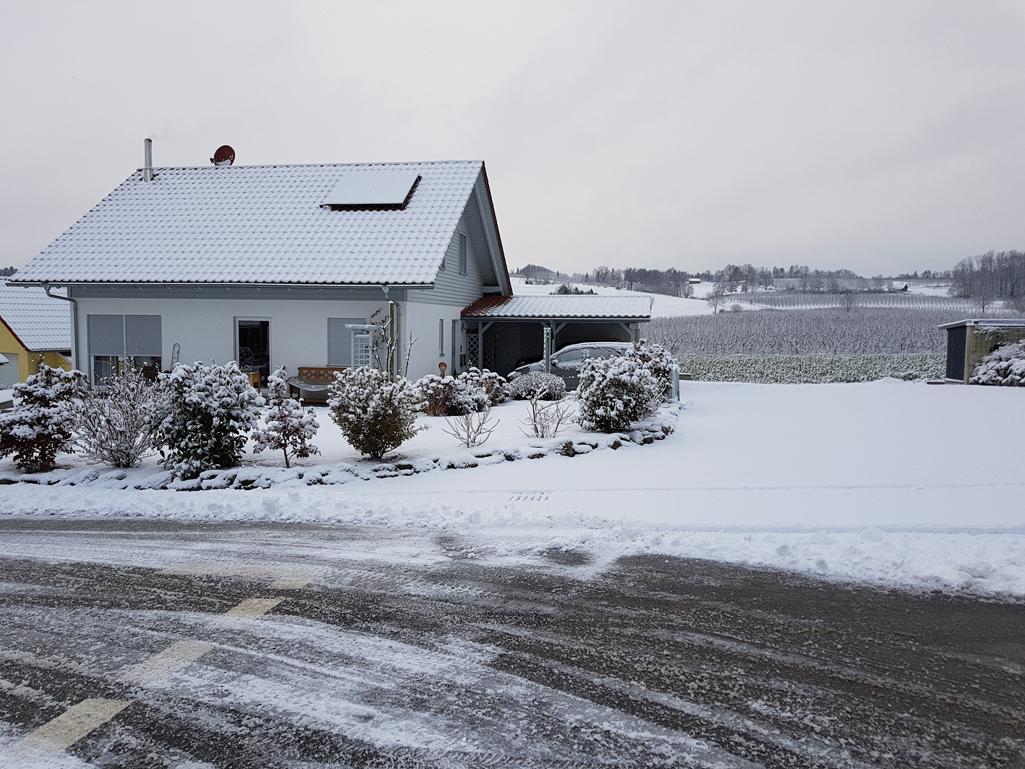 Schon vor der Haustüre startete der Tag winterlich, 17. Dezember 2017