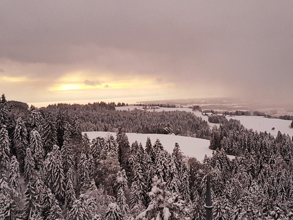 Sonnenuntergang in Richtung Bodensee garniert mit Schneeschauer aus Nord, 17. Dezember 2017