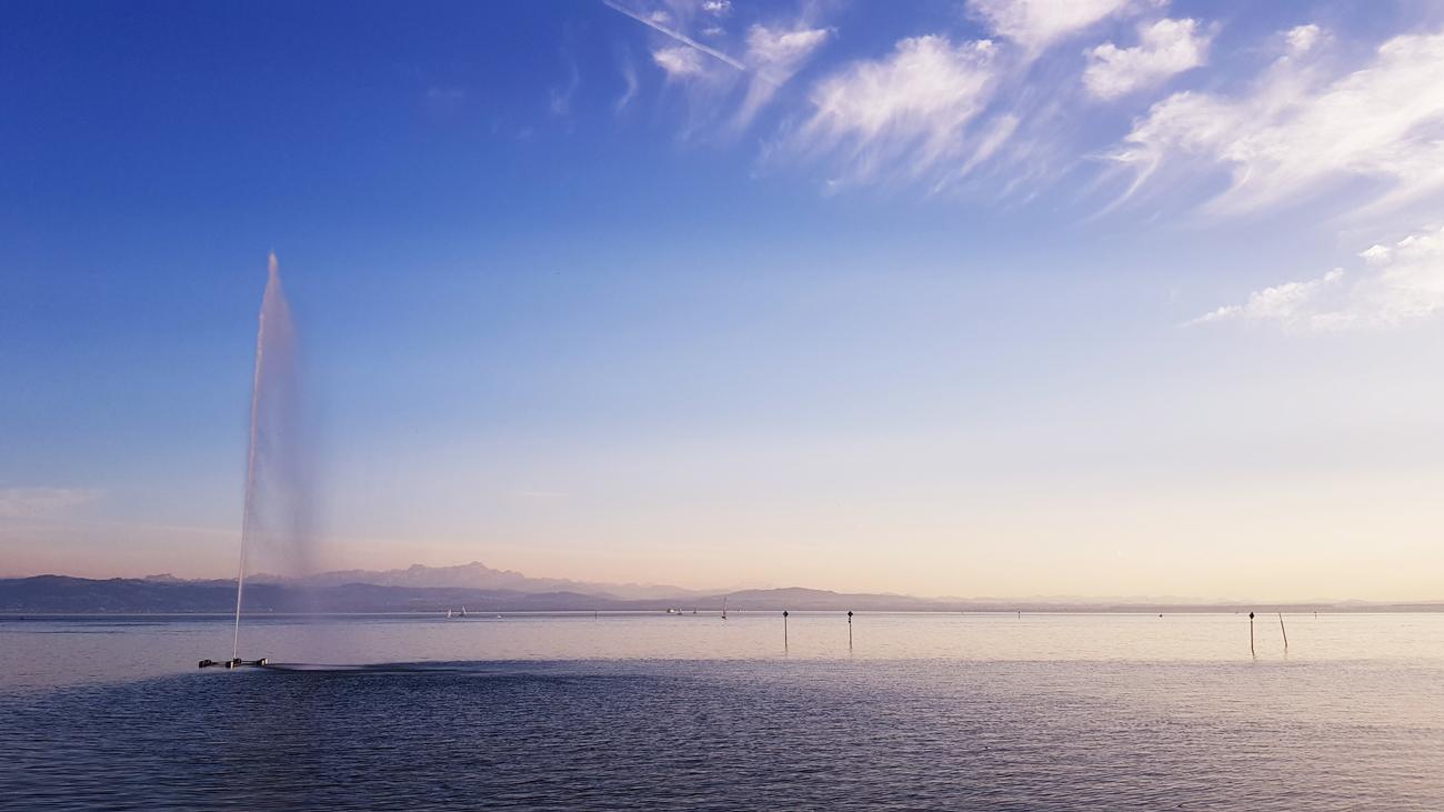 Blick zum Säntis garniert mit Cirren, Uferpromenade, 12. September 2018