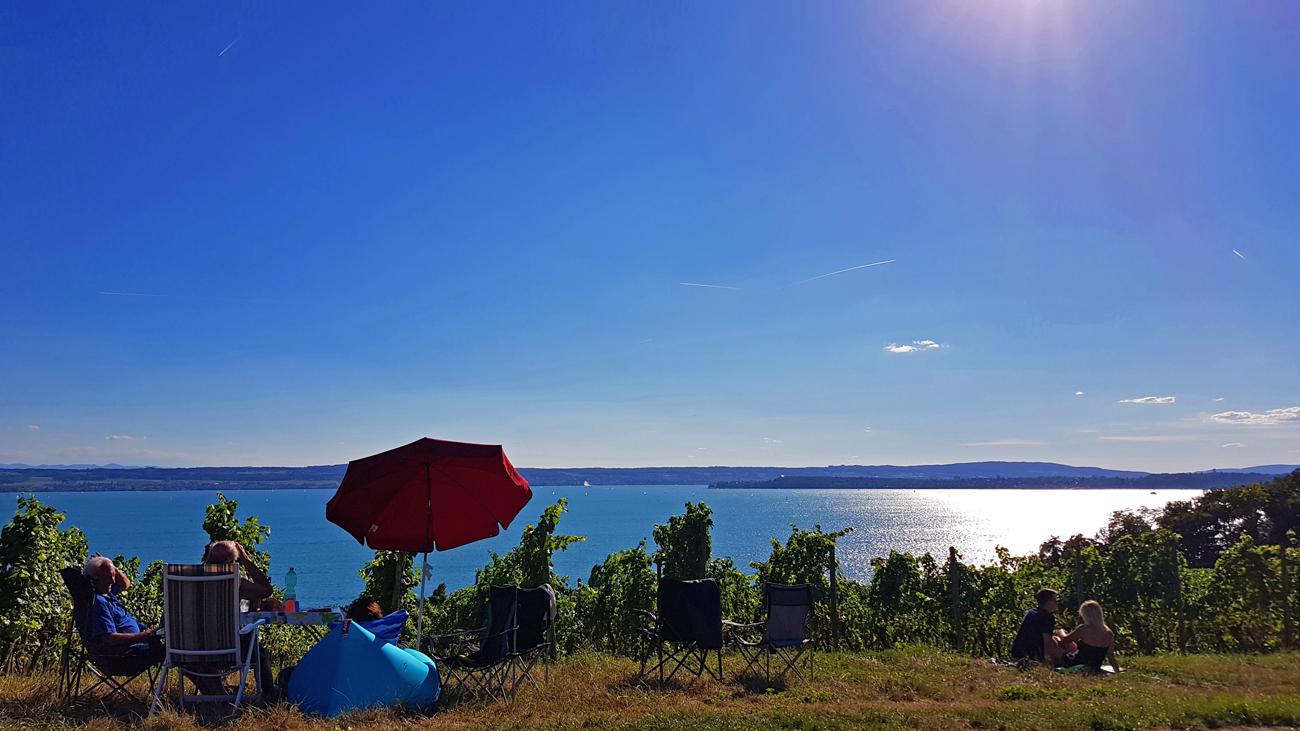 Warten auf das Seenachts-Feuerwerk in Konstanz von Meersburg, 11. August 2018