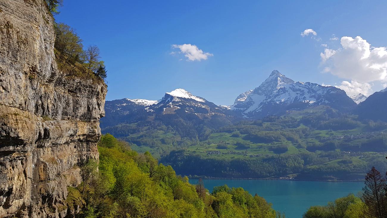 Blick vom Seerenbachwasserfall nach Süden, 1. Mai 2019