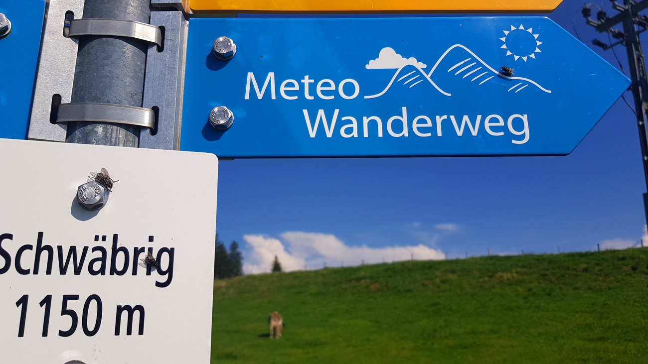 Noch bestehende Beschilderung des METEO-Wanderwegs, 25. August 2019